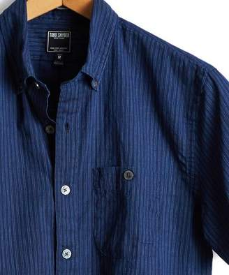 Todd Snyder Short Sleeve Indigo Stripe Button Down Shirt