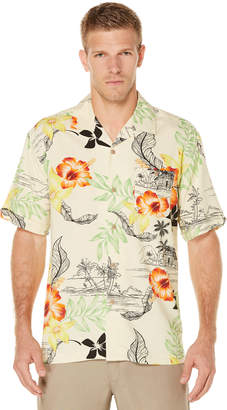 Cubavera Short Sleeve Printed Floral Pocket Camp Shirt