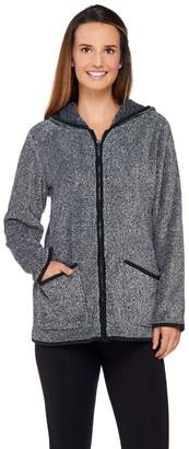 Denim & Co. Zip Front Plush Backed Fleece Jacket with Hood