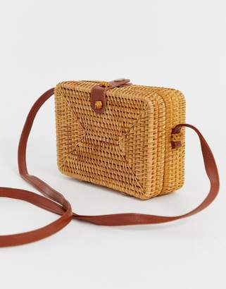 Asos Design DESIGN rattan structured square cross body bag