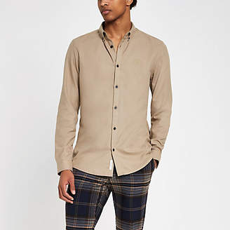 River Island Stone flannel plain long sleeve shirt