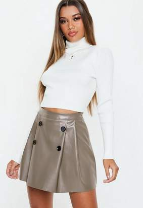 Missguided Grey Faux Leather Button Pleated Mini Skirt, Grey