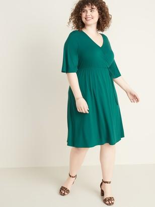 Old Navy Fit & Flare Faux-Wrap Plus-Size Dress