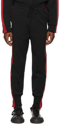 Miharayasuhiro Black and Red Side Stripe Track Pants