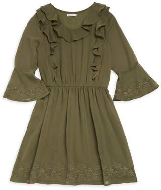 Ella Moss Girl's Embroidered Bell-Sleeve Dress