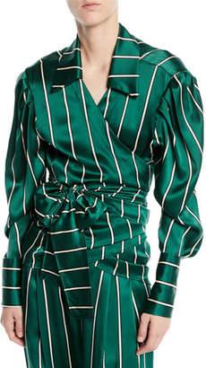 Maggie Marilyn Wrap It Up Striped Silk Long-Sleeve Shirt