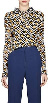 Fendi Women's Heart-Print Loose-Knit Mohair-Blend Sweater