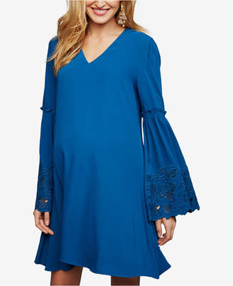 Laundry by Shelli Segal Maternity Embroidered Bell-Sleeve Dress