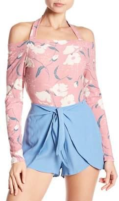 June & Hudson Cold Shoulder Floral Halter Bodysuit