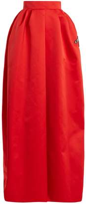 Rochas Dragonfly-appliqué duchess-satin maxi skirt