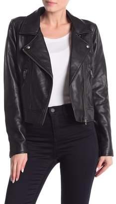 Blank NYC BLANKNYC Denim Faux Leather Moto Jacket With Removable Denim Trim
