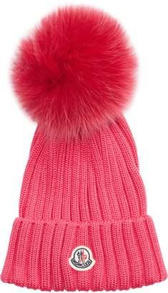 1b456b52c35 Moncler Genuine Fox Fur Pom Wool Beanie