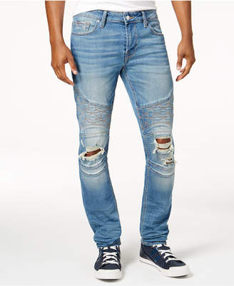 Guess Men's Skinny Moto Jeans $128 thestylecure.com