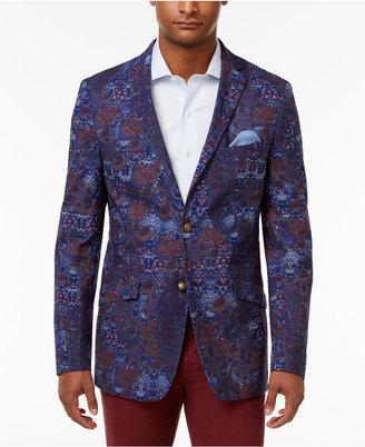 Tallia Men's Slim-Fit Indigo/Purple Paisley Cotton Sport Coat $350 thestylecure.com