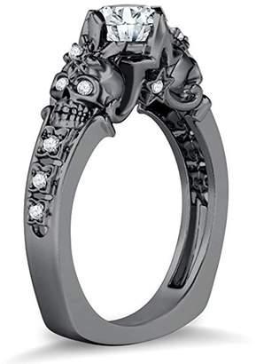 Factory Silver Gems Double Skull Flower & Star Design Round White Cubic Zirconia Diamonds 14k Black Gold Plated Alloy Skull Ring