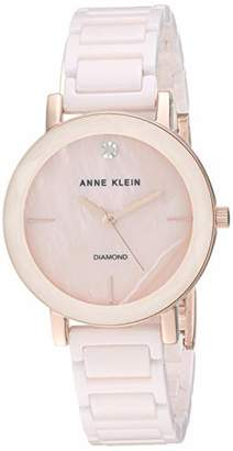 Anne Klein Women's AK/3364LPRG Diamond-Accented Rose Gold-Tone and Light Pink Ceramic Bracelet Watch