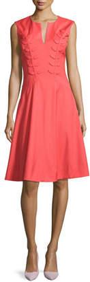 Zac Posen Fern-Embroidered Virgin Wool Fit & Flare Dress, Apricot