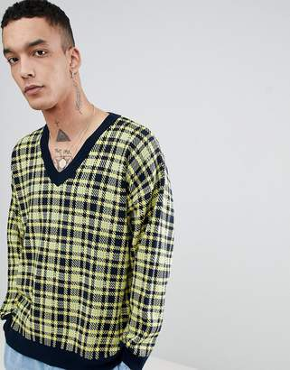 Asos DESIGN Knitted V Neck Check Sweater In Yellow