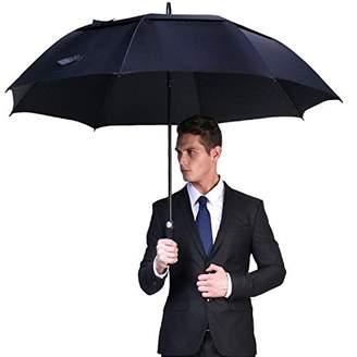 FISKTOOL Automatic Open Golf Umbrella(FT-03-001), Extra Oversize Double Canopy Vented Windproof Waterproof Stick Umbrellas