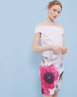 Ted Baker WIYEA Neon Poppy Bardot fitted dress