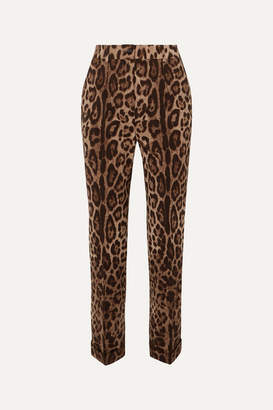 Dolce & Gabbana Leopard-print Wool-blend Straight-leg Pants - Brown
