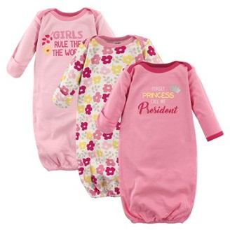 Luvable Friends Baby Girl Gowns, 3-pack