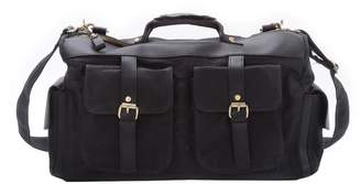 EAZO - Waxed Canvas And Leather Military Style Overnight Holdall Bag in Black