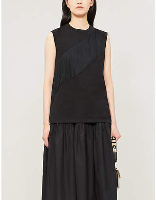 Stella McCartney Fringed sleeveless cotton-jersey top