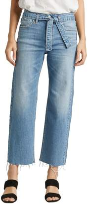 Silver Jeans Frayed-Hem Cropped Wide-Leg Jeans
