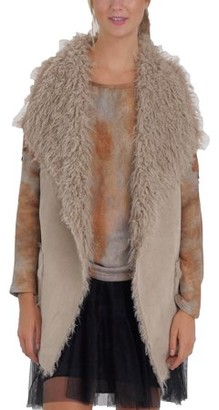 MELODY Women Faux Leather Loose Fit Vest with Faux Shaggy Fur (MOCHA, LARGE)