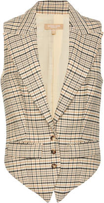 Michael Kors Plaid Wool-Blend Vest