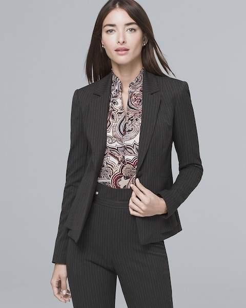 Whbm Pinstripe Blazer Suiting Jacket