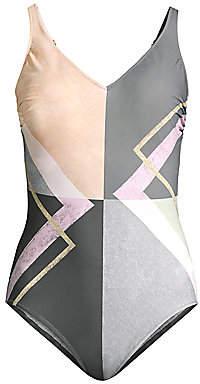 Gottex Swim Women's V-Neck Geometric-Print One-Piece Swimsuit