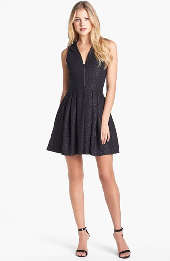 GUESS Jacquard Ponte Knit Fit & Flare Dress