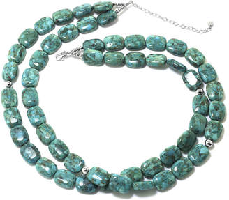 JCPenney FINE JEWELRY Enhanced Turquoise Double-Row Rectangle Stone Necklace