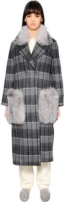 Oversized Plaid Coat W/ Fox Fur
