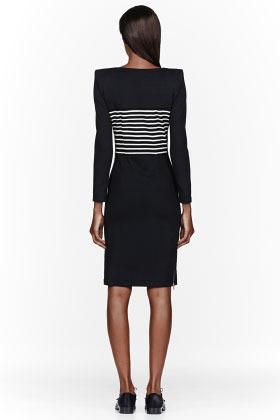 Band Of Outsiders Black jersey stripe-paneled square shoulder dress