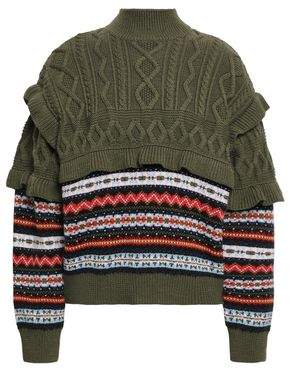 Philosophy di Lorenzo Serafini Fair Isle And Cable-knit Wool Turtleneck Sweater