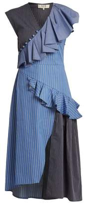 Sea Striped Ruffle Trimmed Cotton Midi Dress - Womens - Blue Multi