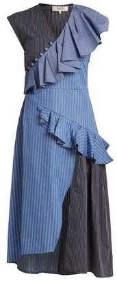 Sea - Striped Ruffle Trimmed Cotton Midi Dress - Womens - Blue Multi