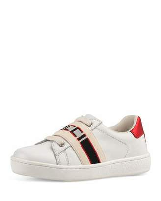 Gucci New Ace Band Leather Sneaker, Toddler