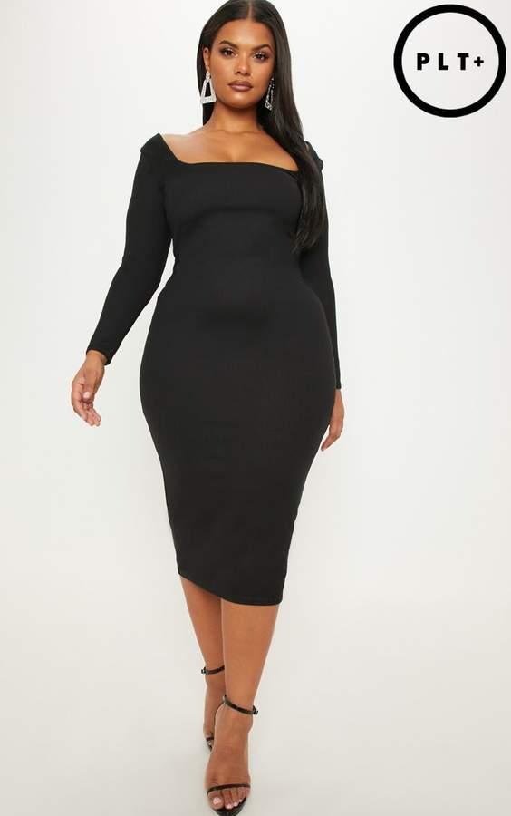 Plus Black Ribbed Square Neck Long Sleeve Midi Dress