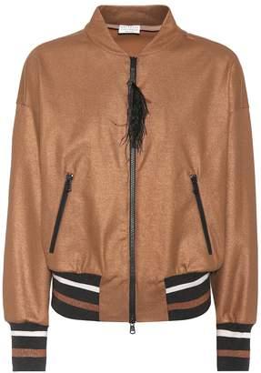 Brunello Cucinelli Feather-trimmed cotton jacket