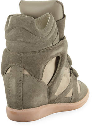 d41ea0a8e37 Isabel Marant Beckett Suede Grip-Strap Wedge Sneakers