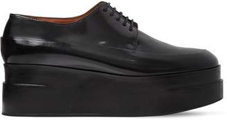 60mm Lucie Brushed Leather Derby Wedges