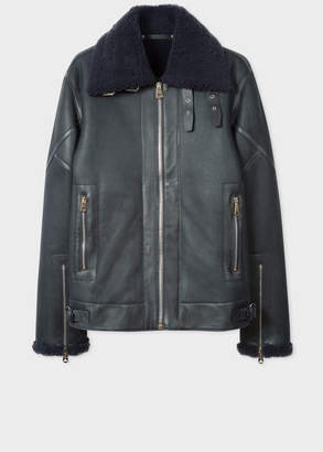 Paul Smith Men's Navy Shearling Flight Jacket