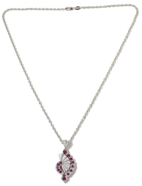 """Generations 1912 - .99ctw Rhodolite """"Fan"""" Sterling Silver Pendant with 18"""" Chain Necklace"""