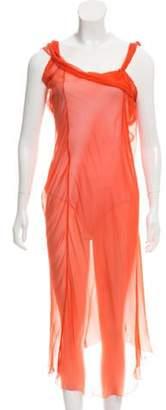Alberta Ferretti Semi-Sheer Maxi Dress Orange Semi-Sheer Maxi Dress