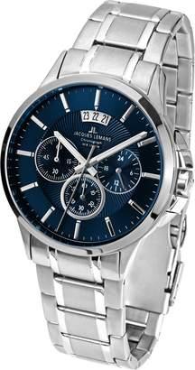Jacques Lemans Men's Steel Bracelet & Case Quartz Black Dial Chronograph Watch 1-1542I