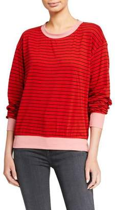 Sundry Colorblock Cuff Striped Long-Sleeve Top